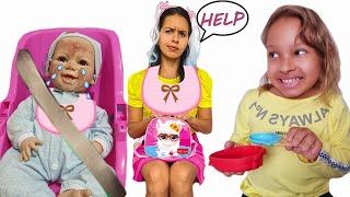 Virei BABÁ por um dia   GATINHA DAS ARTES FINGE SER A BABÁ DA MAMÃE 2 ( pretends to be a parent)