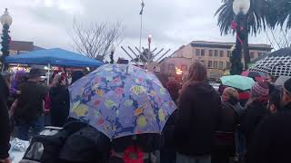 Speech about Chanukah, in the Arcata plaza.