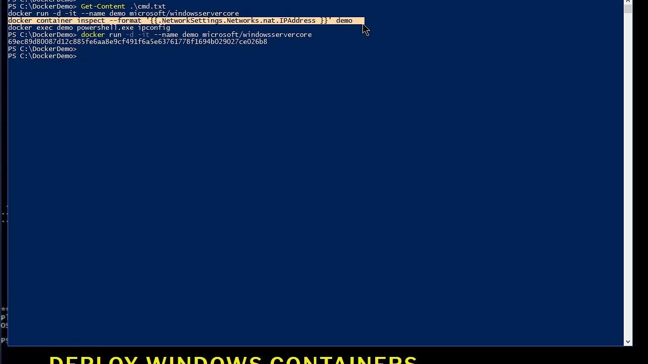 Find Windows Container IP Address Running On Docker
