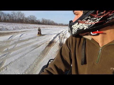 Kneeboarding on Ice - 35MPH Behind an ATV