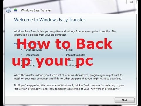How To Back Up Your Pc Using Windows Easy Transfer