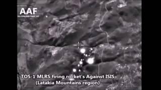 РСЗО ТОС-1 накрывает позиции ИГИЛ в Сирии(Российскими системами были обстреляны позиции боевиков в горах северо-восточной Латакии. Судя по впечатля..., 2016-10-25T10:21:29.000Z)