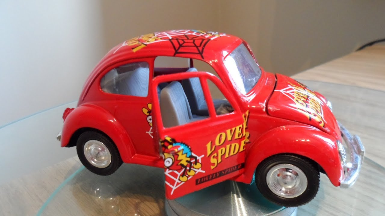 Red Toy Car Vw Volkswagen Beetle Lovely Spider Design