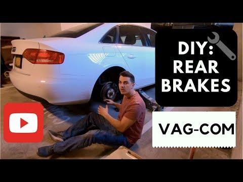 DIY: Audi A4 b8 Rear Brake pads and Brake Rotors Replacement VAG COM 2009-2015