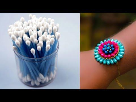 how to make rakhi using cotton buds | rakhi making | handmade rakhi tutorial