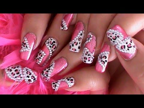 princess pink leopard nail art