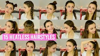 15 Quick & Easy HEATLESS Hairstyles!!