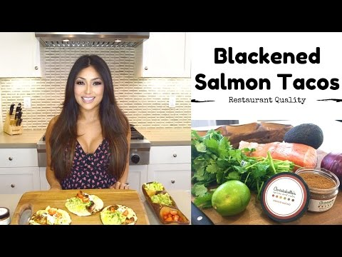 BLACKENED SALMON FISH TACOS 🌮 🌮🌮