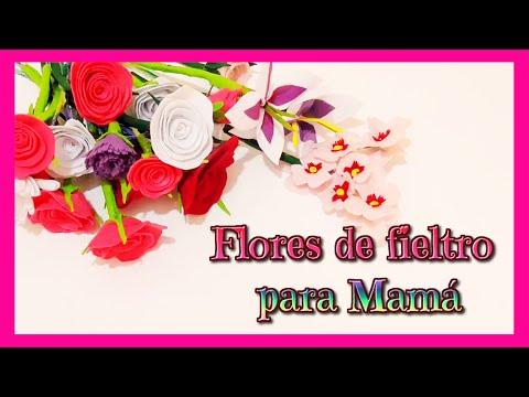 Ideas Para Regalar Dia De La Madre Flores De Fieltro Rosa Clavel