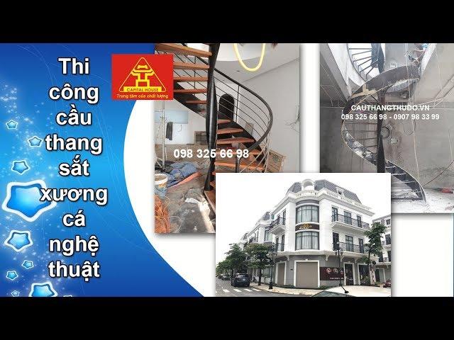 Thi công cầu thang sắt xương cá nghệ thuật tại  Vincom Tuyên Quang