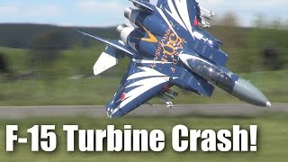 Impressive F-15 jet crash (large RC turbine-powered model plane)