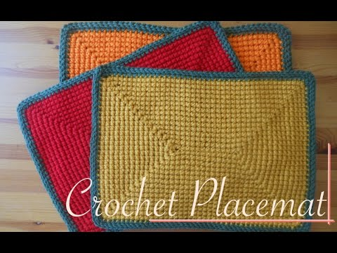 Rectangular Crochet Placemat Autumn Colors Video Tutorial Left