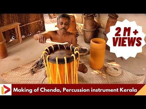 Chenda, percussion instrument, drum, making of chenda, musical instrument, traditional, Thrissur