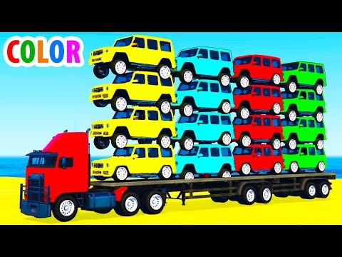 Thumbnail: Learn Color Offroad Car Transportation w Spiderman Cars Cartoon for Children Colors for Kids Video