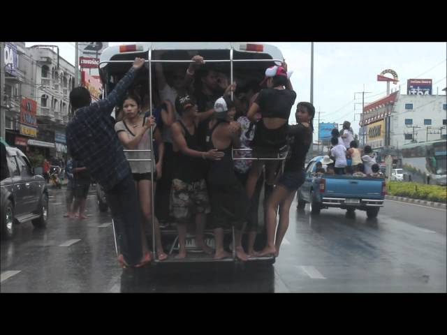 Songkran Pattaya Girls Pole Dance on Baht Bus