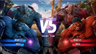 Blue Hulk and Nemesis vs Red Hulk and Nemesis - MARVEL VS. CAPCOM: INFINITE