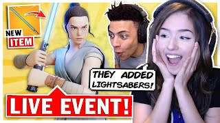 Pokimane Reacts to Fortnite X Star Wars LIVE EVENT ft. TSM Myth!
