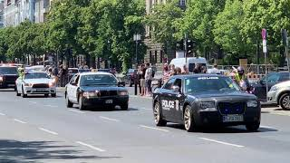 Police cars and fire trucks parade in Berlin (1.06.2019)