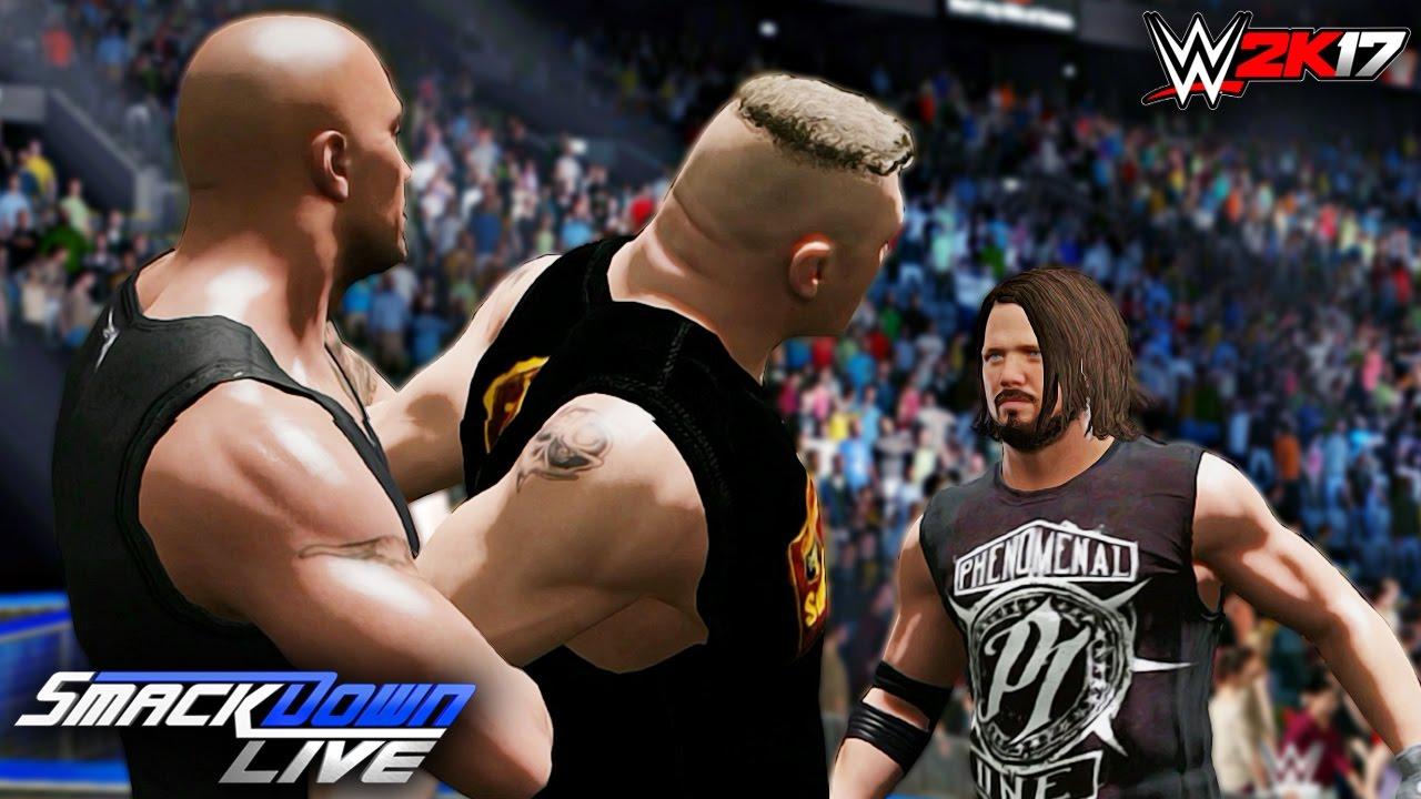 WWE 2K17 Custom Story - Brock Lesnar Calls Out Mysterious Man & New  SmackDown Live GM ft  AJ & Rock