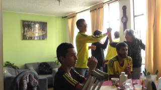 A Colombian family's reaction to James Rodriguez's second goal against Uruguay