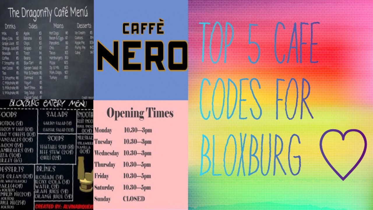 Top 5 Cafe Codes 2018 Roblox Youtube