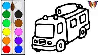 Как нарисовать ПОЖАРНУЮ МАШИНУ /  мультик раскраска ПОЖАРНАЯ МАШИНА  для детей / Раскраски малышам