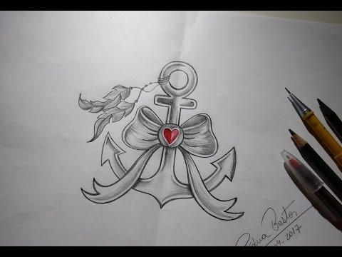 como desenhar Âncora tumblr estilo tattoo passo a passo youtube