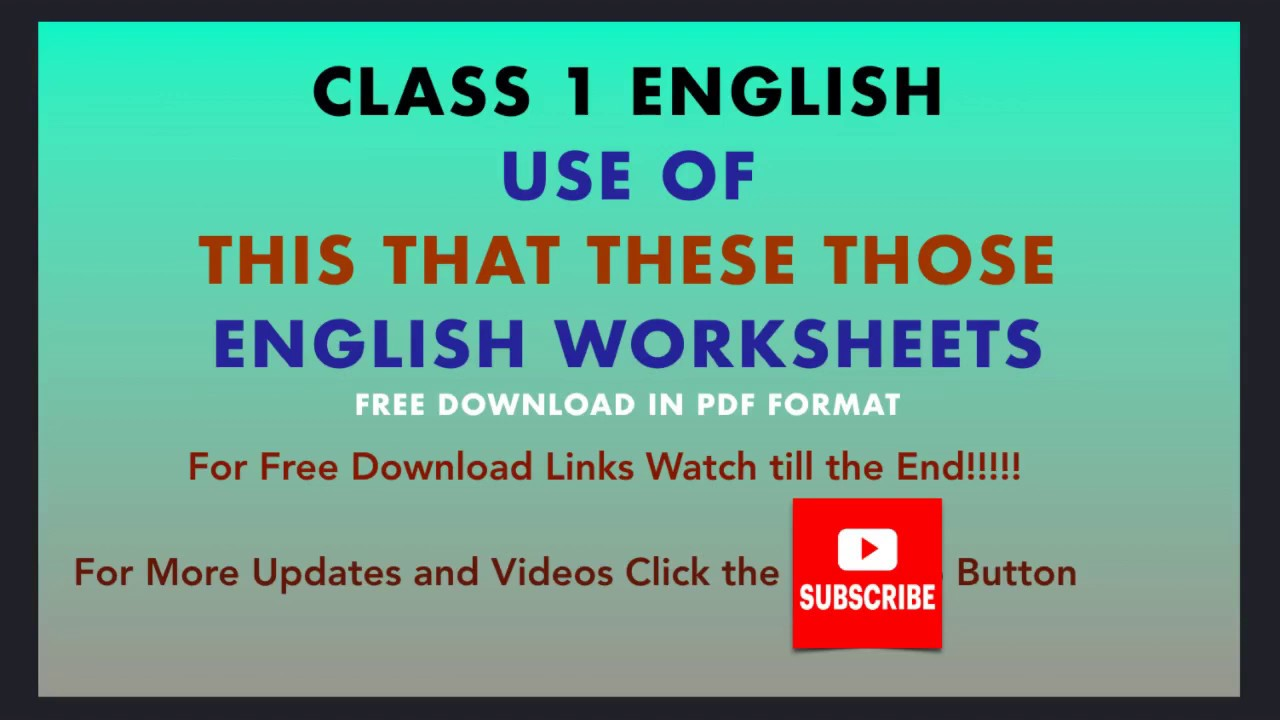 Using This - That - These - Those   Grammar Class 1 Worksheets    Demonstrative Pronoun Grade 1 - YouTube [ 720 x 1280 Pixel ]