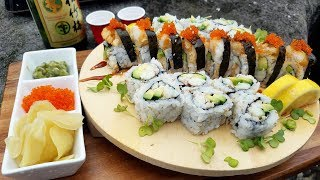 SUSHI Catch and Cook! Smoked Crab and Tempura Rockfish Rolls on the Jetty