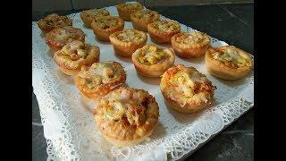 مملحات أو فطائر في 10دقائق محشية بالدجاج سهلة وسريعة التحضير وصفة خفيفة للعشاء أو للمدرسة والعمل