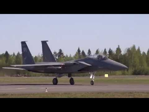 U.S. and Finnish Air Force fighter jets at Kuopio Airport (Finland)