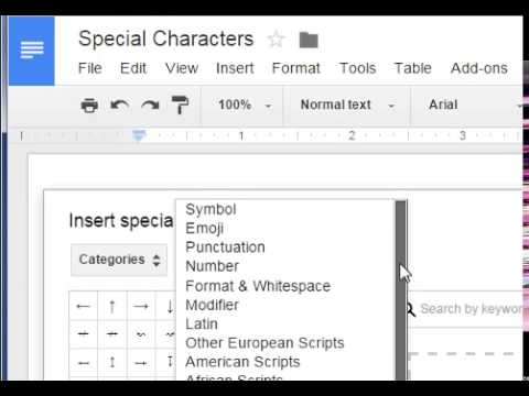 Google Sheets Insert Special Characters Youtube