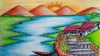 Mountain Landscape Drawing - How To Draw a Mountain Landscape  Easy || Step by Step for Kids