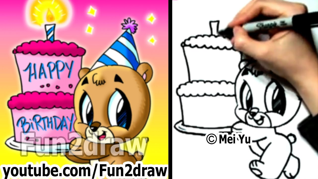How to Draw a Bear with a Birthday Cake Fun Things to Draw