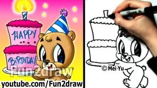 How to Draw a Bear with a Birthday Cake - Fun Things to Draw - Fun2draw