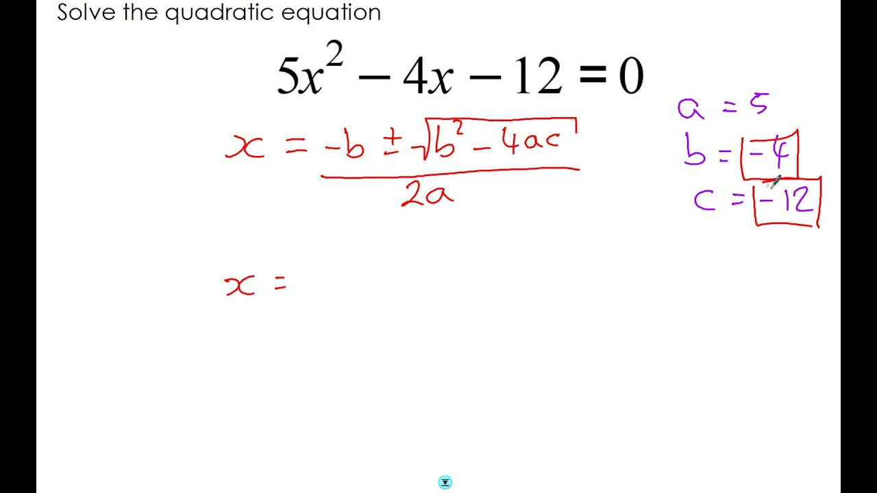 Solutions Of Quadratic Equations Calculator
