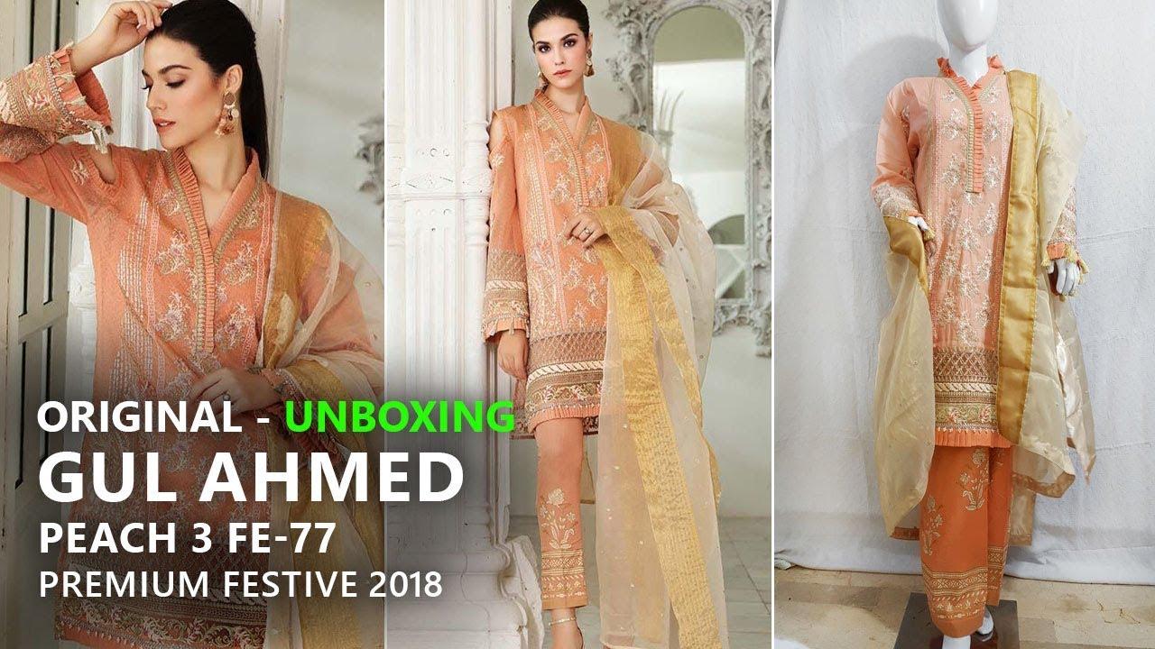 ace3b77848 Gul Ahmed Festive Eid Collection 2018 - Stitched Peach FE77 - Pakistani  Dresses 2018