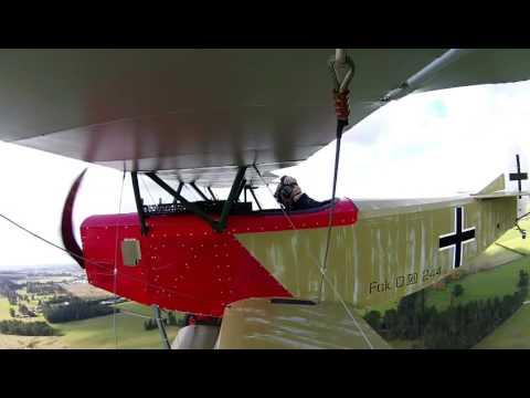 Fokker D7 replica homebuilt test flight, Rangiora airfield New Zealand.