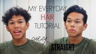 MEN'S EVERYDAY HAIRSTYLE | Creating Waves, Volume, and Texture | Curly to Straight Hair Routine