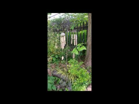 Two wooden wind chimes me and my dad found.