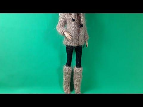 Сапожки для куклы спицами видео