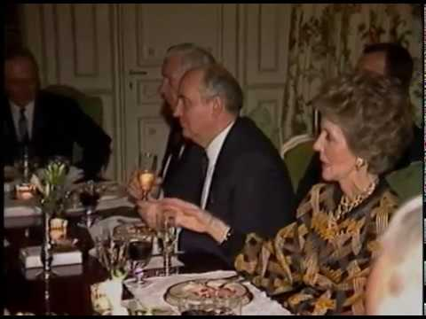 President Reagan during a Dinner for Mikhail Gorbachev during the Geneva Summit on November 20, 1985