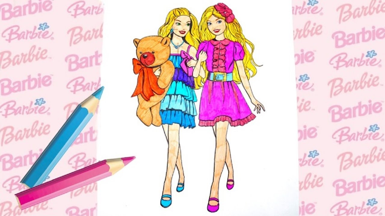 Barbie coloring pages for kids / Барби раскраска-мультик ...
