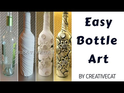 Bottle Art/Wine bottle craft/Bottle Transformation/Altered bottle/Bottle Decoration by Creative Cat