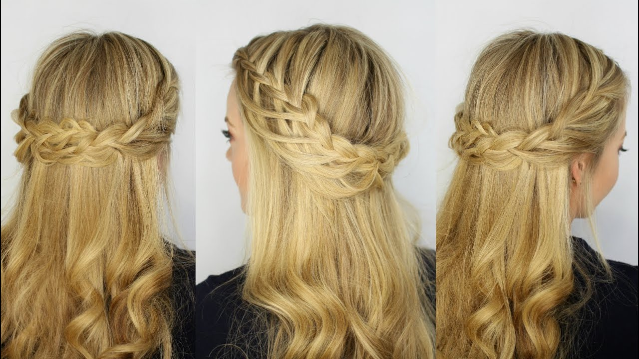 Cascading Looped Half Up Crown Braid YouTube
