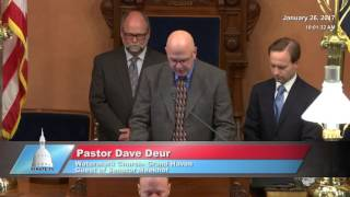 Sen. Meekhof welcomes Pastor Deur to deliver invocation at the Michigan Senate
