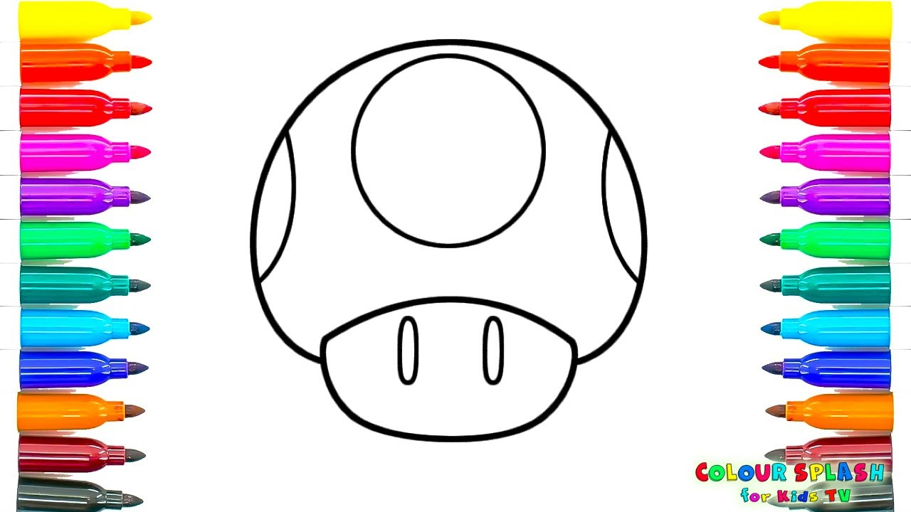 How To Draw Toad Mario Art Colours For Kids With Colored