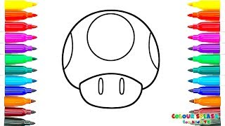 How to Draw Toad Mario, Art Colours for Kids with Colored Markers | Coloring Pages Cartoons