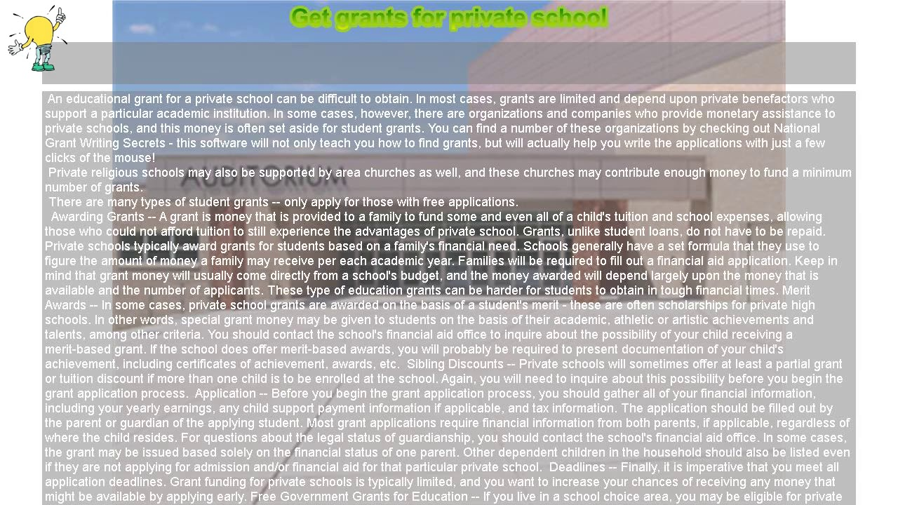 how to get grants for private schools