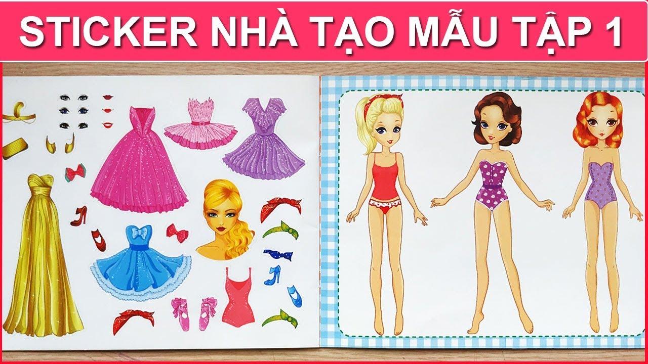 Sticker nhà tạo mẫu Q1 / Dán hình trang phục công chúa búp bê / Sticker dolly (Chim Xinh)